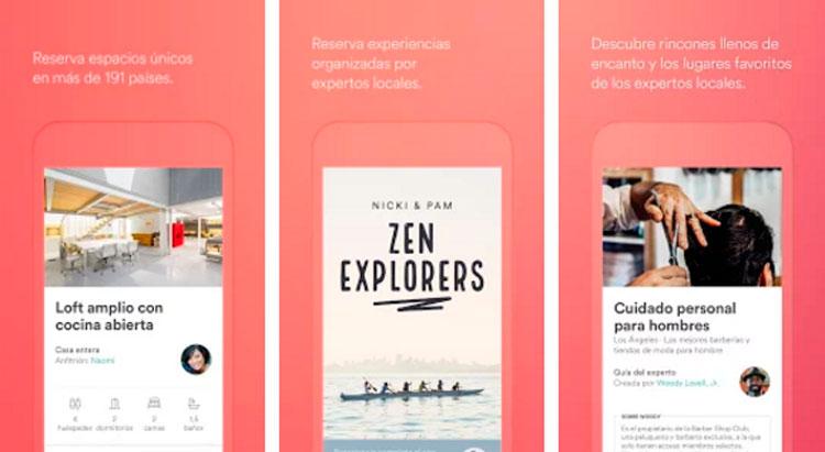 Interfaz gráfica de la app Airbnb