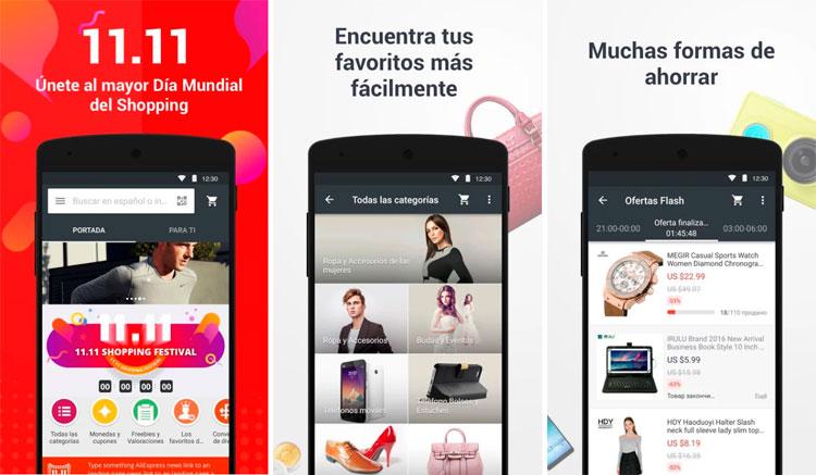 Interfaz gráfica de la app Aliexpress Shopping