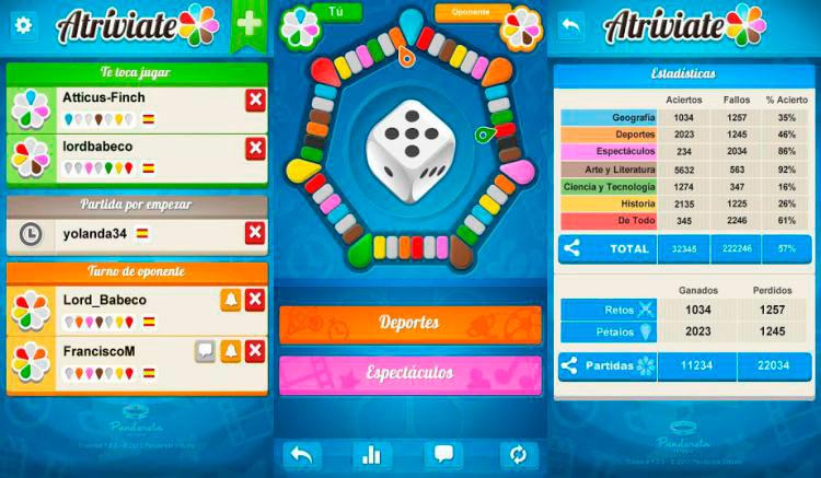Interfaz gráfica del juego Atriviate