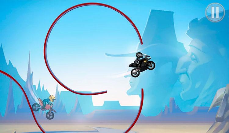 Interfaz gráfica del juego Bike Race