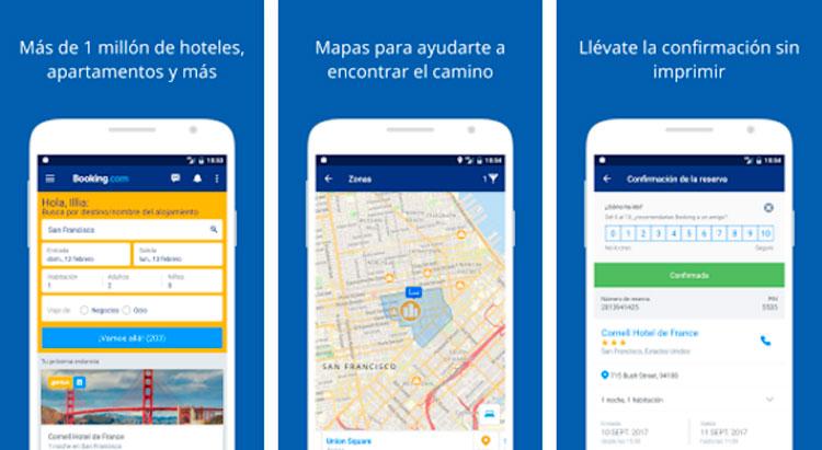 Interfaz gráfica de la app Booking