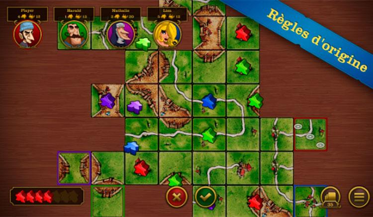 Interfaz gráfica del juego Carcassonne
