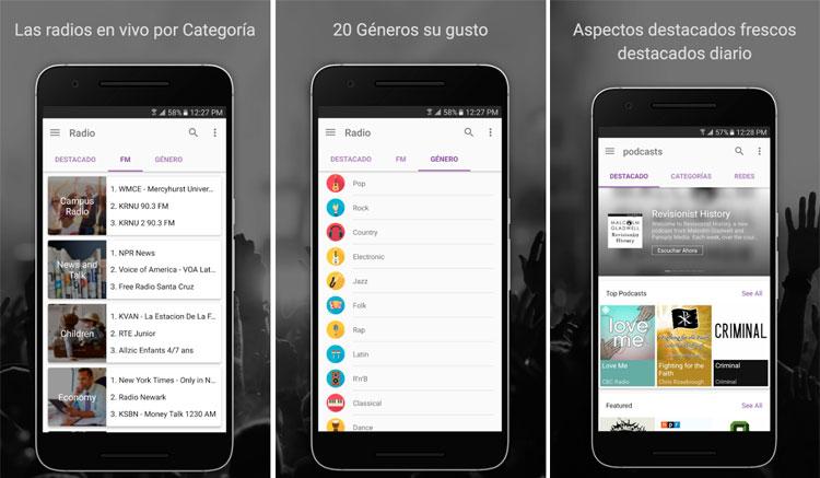 Interfaz gráfica de la app CastBox