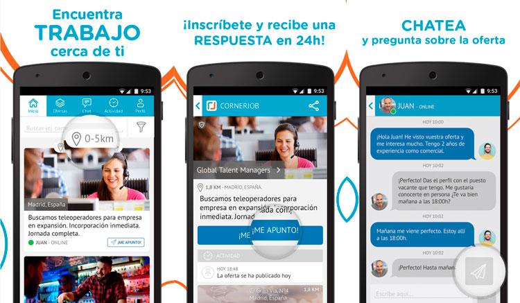 Interfaz de la app de Cornerjob
