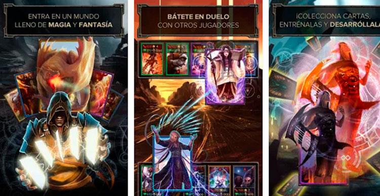 Interfaz gráfica del juego Evoker: Magic Card Game