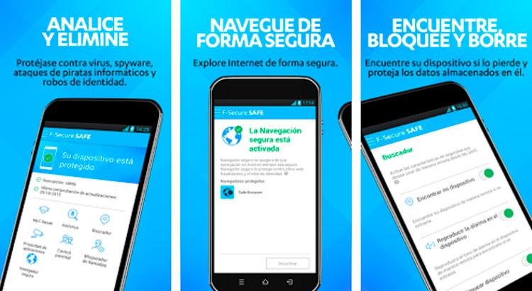 Interfaz gráfica de la app F-Secure Safe