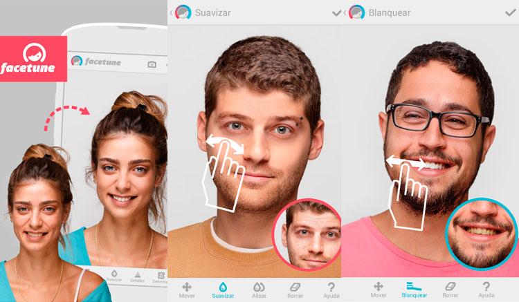 Interfaz gráfica de la app Facetune