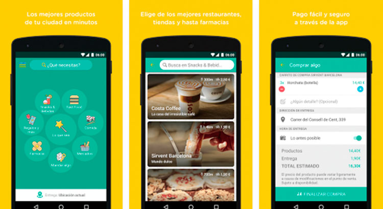 Interfaz gráfica de la app Glovo