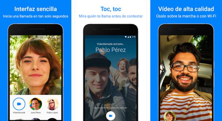 Interfaz gráfica de la app Google Duo