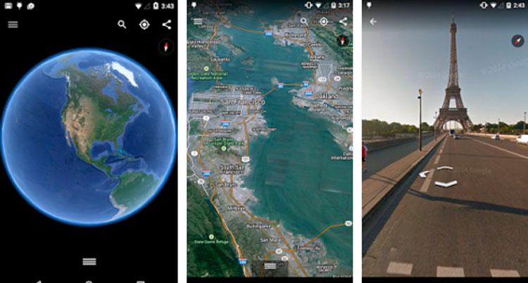 Interfaz gráfica de la app Google Earth
