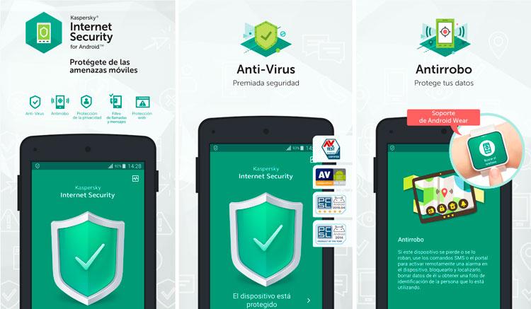 Interfaz gráfica de la app Kaspersky Antivirus