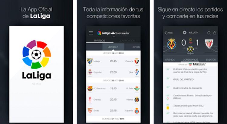 Interfaz gráfica de la app La Liga