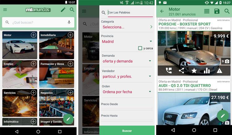 Interfaz de la app de Milanuncios
