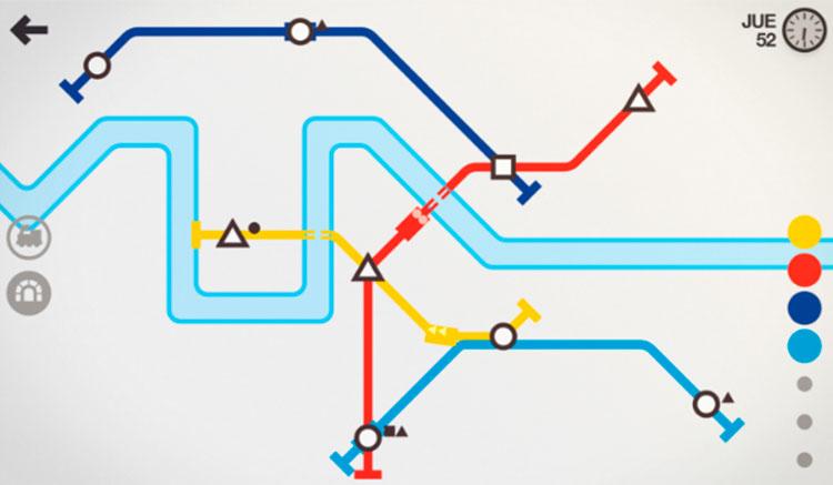 Interfaz gráfica del juego Mini Metro