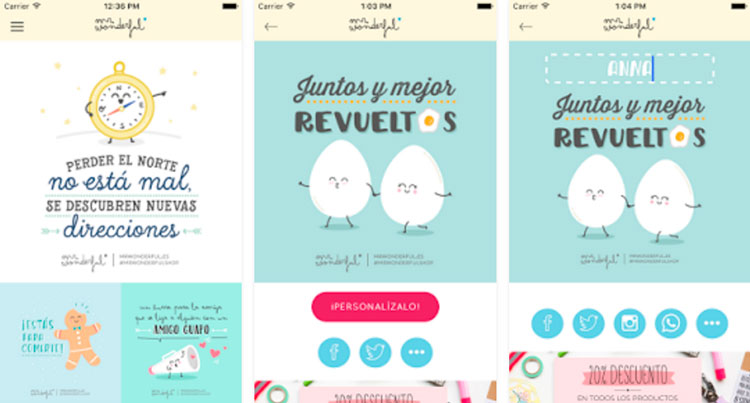 Interfaz gráfica de la app Mr. Wonderful