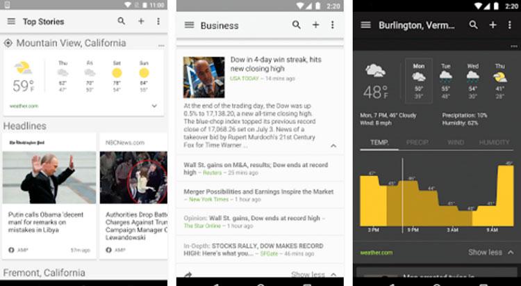 Interfaz gráfica de la app Noticias y tiempo de Google