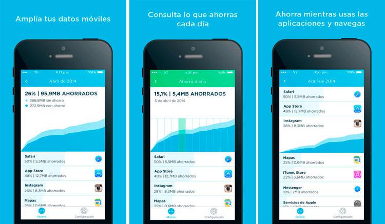 Interfaz gráfica de la app Onavo Extend