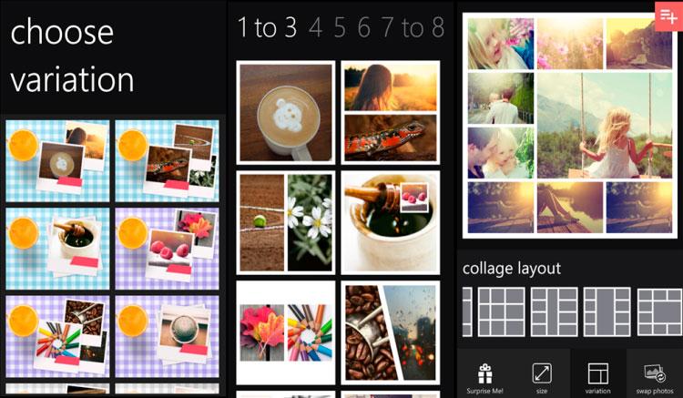 Interfaz de la app de Phototastic Collage