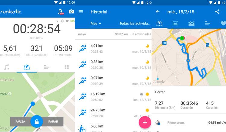 Interfaz gráfica de la app Runtastic