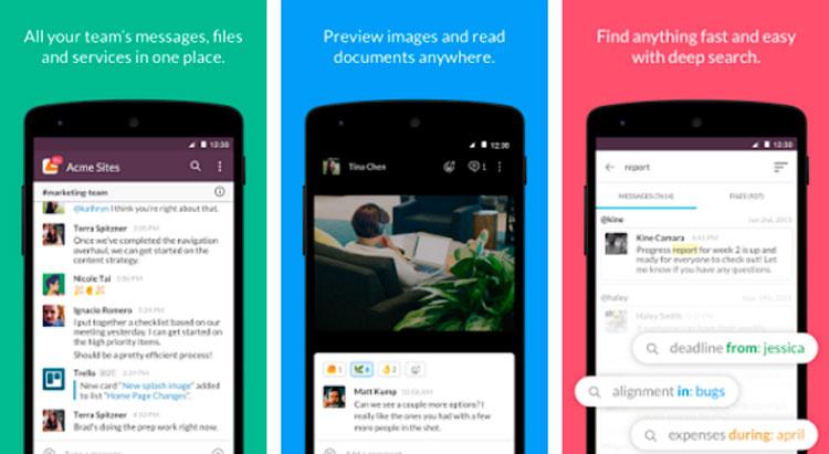 Interfaz gráfica de la app Slack