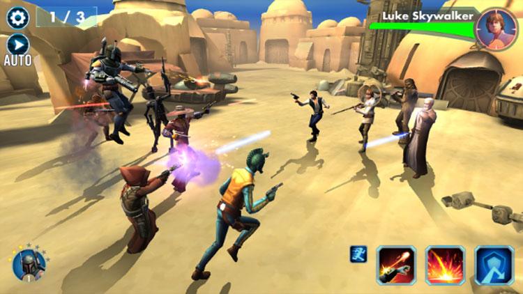Interfaz gráfica del juego Star Wars: Galaxy of Heroes