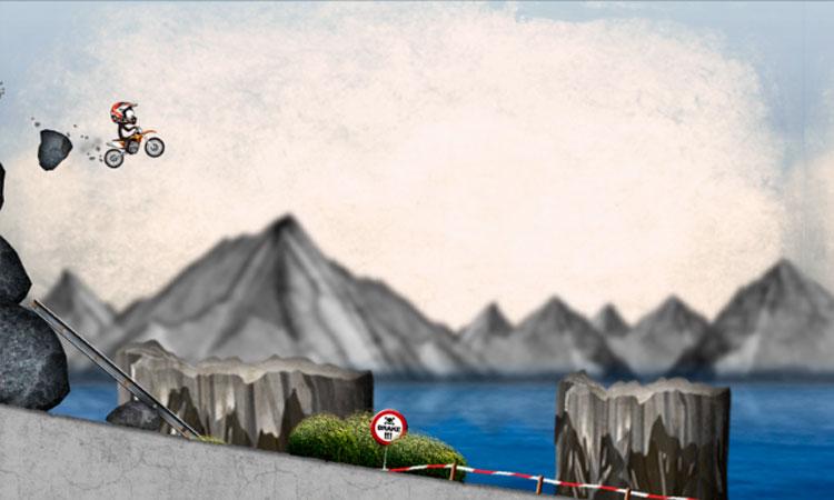 Interfaz gráfica del juego Stickman Downhill Motocross