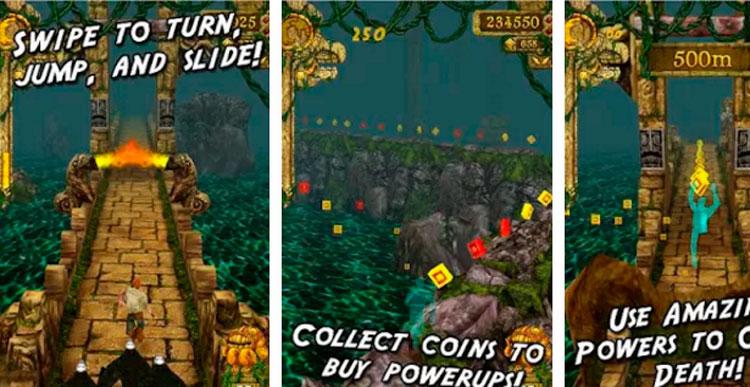Interfaz gráfica del juego Temple Run