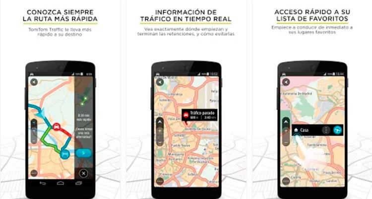 Interfaz gráfica de la app TomTom Navegación GPS Traffic