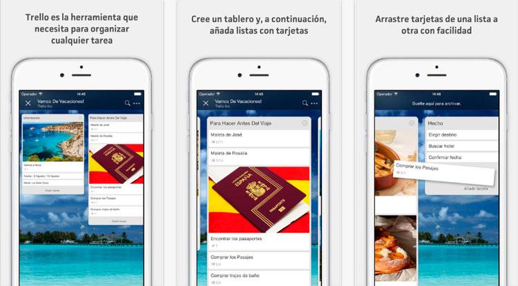 Interfaz gráfica de la app Trello