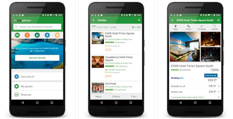 Interfaz gráfica de la app TripAdvisor