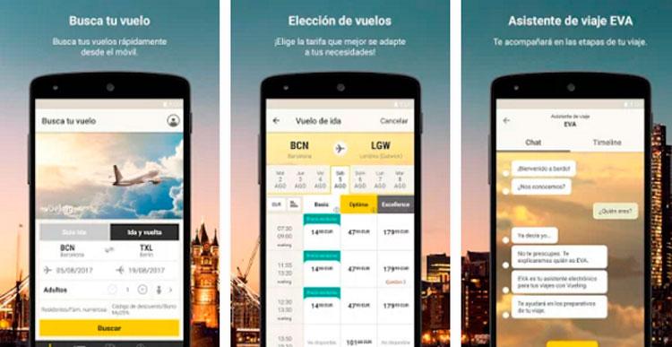 Interfaz de la app de Vueling