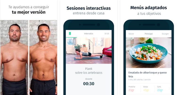 Interfaz gráfica de la app 8fit