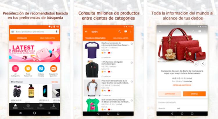 Interfaz gráfica de la app Alibaba
