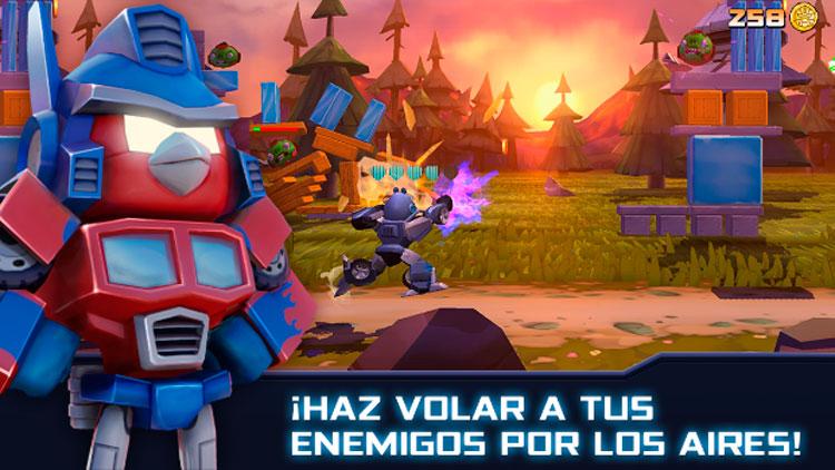 Interfaz gráfica del juego Angry Birds Transformers