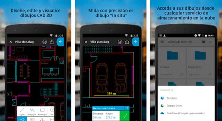 Interfaz de la app de AutoCAD 360