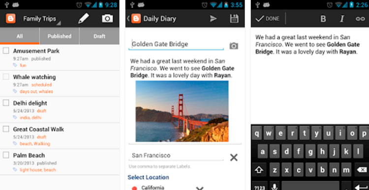 Interfaz gráfica de la app Blogger