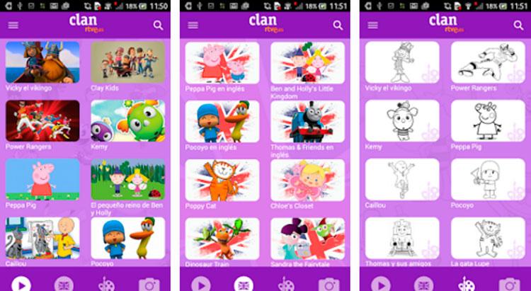 Interfaz gráfica de la app Clan RTVE