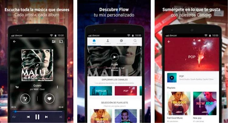 Interfaz gráfica de la app Deezer Music