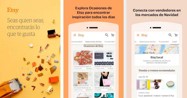 Interfaz gráfica de la app Etsy
