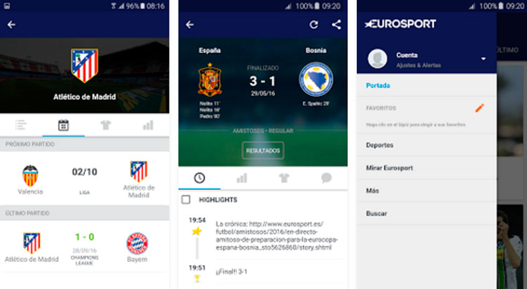 Interfaz gráfica de la app Eurosport
