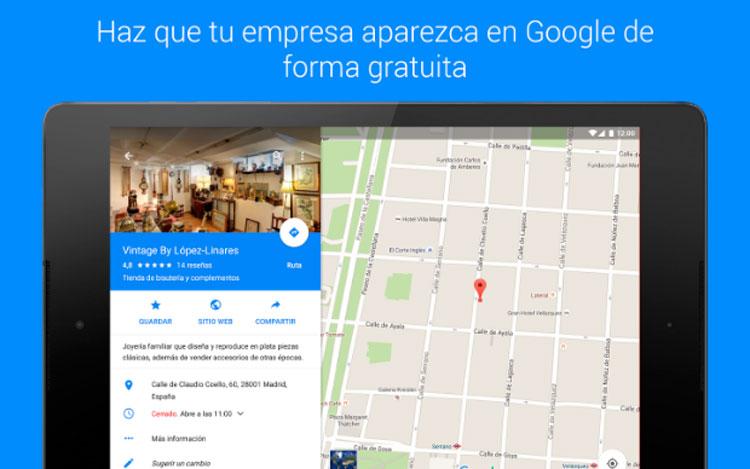Interfaz gráfica de la app Google My Business