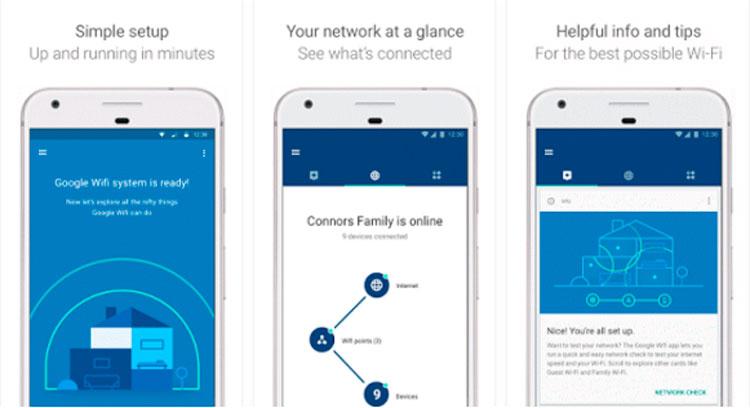 Interfaz gráfica de la app Google WiFi