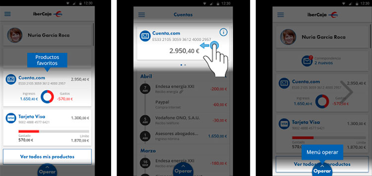 Interfaz de la app de Ibercaja