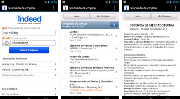 Interfaz gráfica de la app Indeed