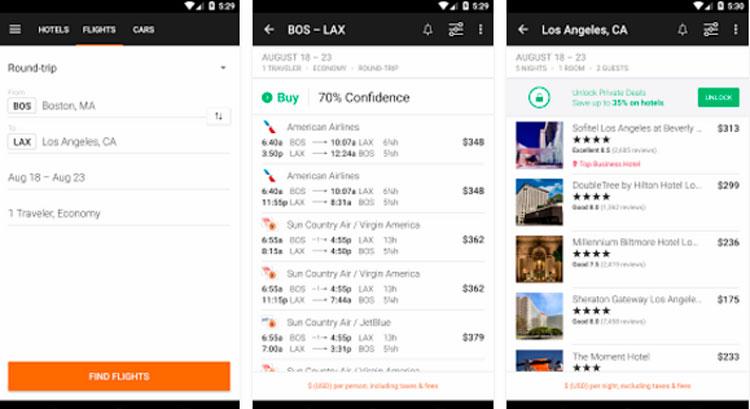 Interfaz gráfica de la app Kayak