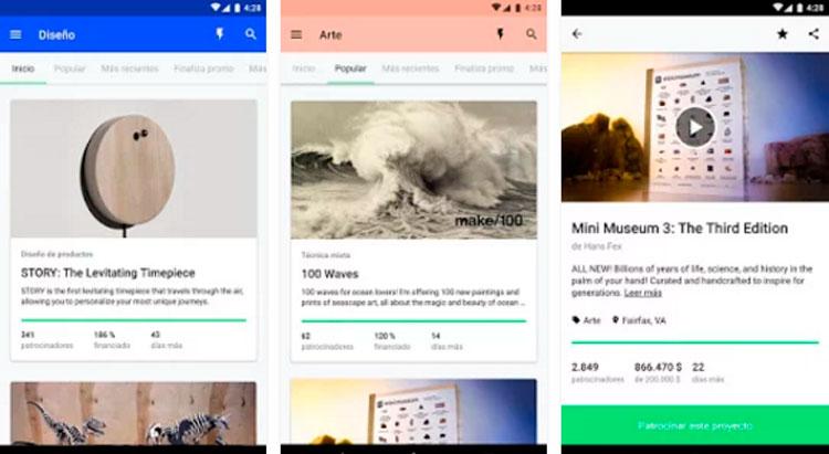 Interfaz gráfica de la app Kickstarter