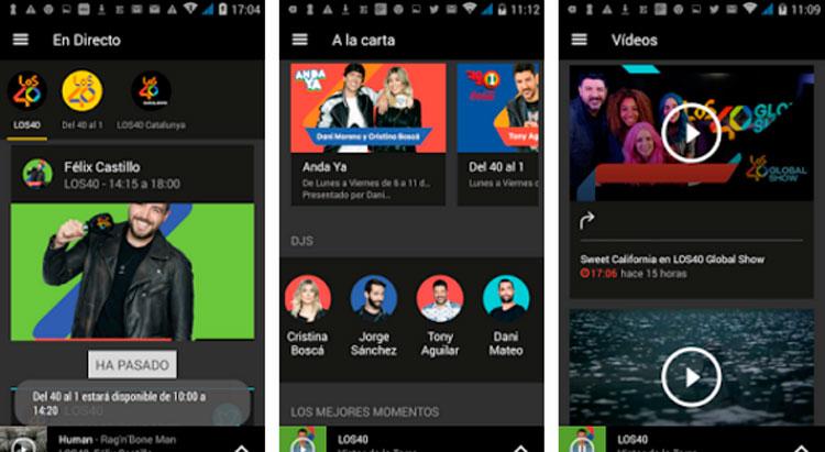 Interfaz gráfica de la app Los 40 Radio