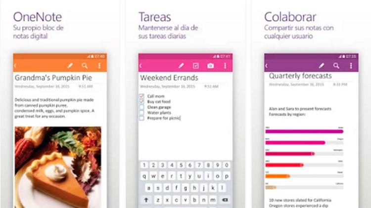 Interfaz gráfica de la app OneNote
