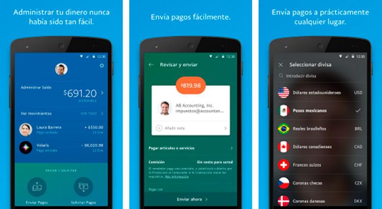 Interfaz gráfica de la app PayPal
