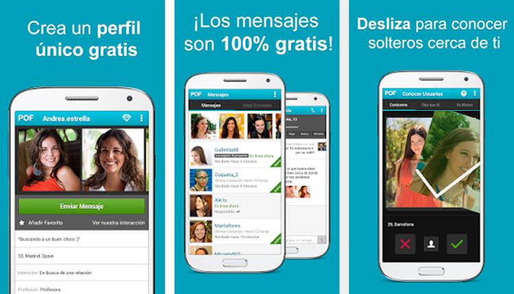Interfaz de la app de POF